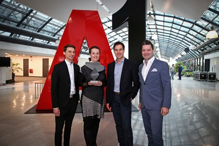 v.ln.r.: Matthias Simperl (Head of Business & Sales Communications A1), Katja Lindner (Marketing Communications A1), Robert Beck (Sales Director EPAMEDIA),  Marco Harfmann (Director A1 Marketing Communications)