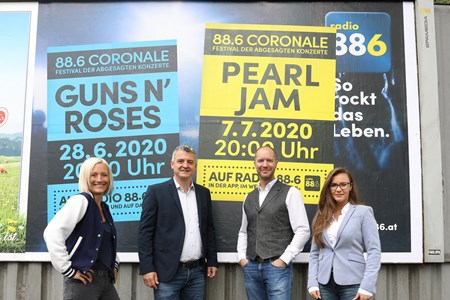 V.l.n.r.: Niki Fuchs (Head of Marketing radio 88.6), Ralph Meier-Tanos (Geschäftsführer radio 88.6), Marcus Zinn (Sales Director EPAMEDIA) und Gabriela Subasic (Account Manager EPAMEDIA). (c) EPAMEDIA